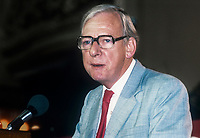 Peter Shore, MP, Labour Party, UK, member, Shadow Cabinet, September, 1982, 1982090178D<br /><br />Copyright Image from Victor Patterson, 54 Dorchester Park, <br />Belfast, UK, BT9 6RJ<br /><br />t1: +44 28 9066 1296 (from Rep of Ireland 048 9066 1296)<br />t2: +44 28 9002 2446 (from Rep of Ireland 048 9002 2446)<br />m: +44 7802 353836<br /><br />victorpatterson@me.com<br />www.victorpatterson.com<br /><br />Please see my Terms and Conditions of Use at VICTORPATTERSON.COM. It is IMPORTANT that you familiarise yourself with them.<br /><br />Images used on the Internet must be visibly watermarked i.e. &copy;VICTORPATTERSON.COM within the body of the image and copyright metadata must not be deleted. Images used on the Internet have a size restriction of 4kbs and are chargeable at the then current NUJ rates.<br /><br />This image is only available for the use of the download recipient i.e. television station, newspaper, magazine, book publisher, etc, and must not be passed on to any third party. It is also downloaded on condition that each and every usage is notified within 7 days to victorpatterson@me.com<br /><br />The right of Victor Patterson to be identified as the author is asserted in accordance with The Copyright Designs And Patents Act (1988).