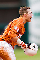 Texas Longhorns outfielder Mark Payton #2 argues with the umpire after being called out at third base during the NCAA baseball game against the Houston Cougars on March 1, 2014 during the Houston College Classic at Minute Maid Park in Houston, Texas. The Longhorns defeated the Cougars 3-2. (Andrew Woolley/Four Seam Images)