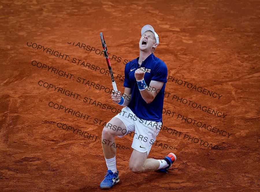 Davis Cup 2016 Quarter Final<br /> Srbija v Velika Britanija-Dubl-Doubles<br /> Dusan Lajovic SRB v Kyle Edmund GBR<br /> Kyle Edmund celebrates<br /> Beograd, 17.07.2016.<br /> Foto: Srdjan Stevanovic/Starsportphoto.com&copy;