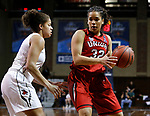 SIOUX FALLS, SD: MARCH 21:  Sara Lytle #32 of Union drives on Kayonna Lee #3 of Central Missouri during their game at the 2018 Division II Women's Basketball Championship at the Sanford Pentagon in Sioux Falls, S.D. (Photo by Dick Carlson/Inertia)