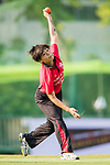 Chan Sau Har of Hong Kong Women's team bowls during Day 2 of Hong Kong Cricket World Sixes 2017 match between Hong Kong Women's Team vs The Dragons Team at Kowloon Cricket Club on 29 October 2017, in Hong Kong, China. Photo by Yu Chun Christopher Wong / Power Sport Images