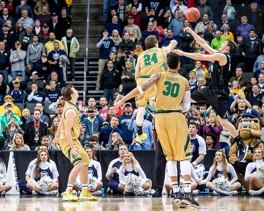 Mar. 21, 2015; Pat Connaughton (24) makes a block late in regulation in the third round game of the NCAA Tournament. Notre Dame defeated Butler 67-64 in overtime. (Photo by Matt Cashore/University of Notre Dame)
