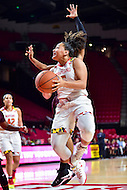 College Park, MD - NOV 16, 2016: Maryland Terrapins guard Destiny Slocum (5) drives to the basket during game between Maryland and Maryland Eastern Shore Lady Hawks at XFINITY Center in College Park, MD. The Terps defeated the Lady Hawks 106-61. (Photo by Phil Peters/Media Images International)