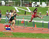 McCluer High School Senior Shaelyn Grant is the first a set of hurdles on her way to victory in the 300 meter hurdles  in 43.49 at the Missouri Class 4 Sectional 2 Track and Field meet at Parkway North High School, Saturday, May 18, 2013, St. Louis, MO.