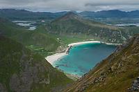 View across Haukland and Vik beaches, Vestvågøy, Lofoten Islands, Norway