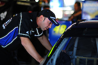 Sept. 27, 2008; Kansas City, KS, USA; Chad Knaus crew chief for Nascar Sprint Cup Series driver Jimmie Johnson (not pictured) during practice for the Camping World RV 400 at Kansas Speedway. Mandatory Credit: Mark J. Rebilas-