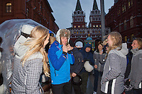 Moskou, Russia, Februari 3, 2016,  Fed Cup Russia-Netherlands,  Red Square, Dutch players trying fur bonnets <br /> Photo: Tennisimages/Henk Koster