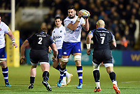 Elliott Stooke of Bath Rugby in possession. Aviva Premiership match, between Newcastle Falcons and Bath Rugby on February 16, 2018 at Kingston Park in Newcastle upon Tyne, England. Photo by: Patrick Khachfe / Onside Images
