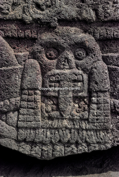 Skull and serpant carving, Tenochtitlan, Templo Mayor, Aztec, Mexico, Mexico City, Great Temple of the Aztecs, .