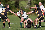 Mark Selwyn is tackled by his opposite number Jeremy Biggelaar. Counties Manukau Premier Club Rugby game between Bombay & Manurewa played at Bombay on Saturday June 14th 2008..Bombay won 19 - 12 after leading 12 - 0 at halftime.