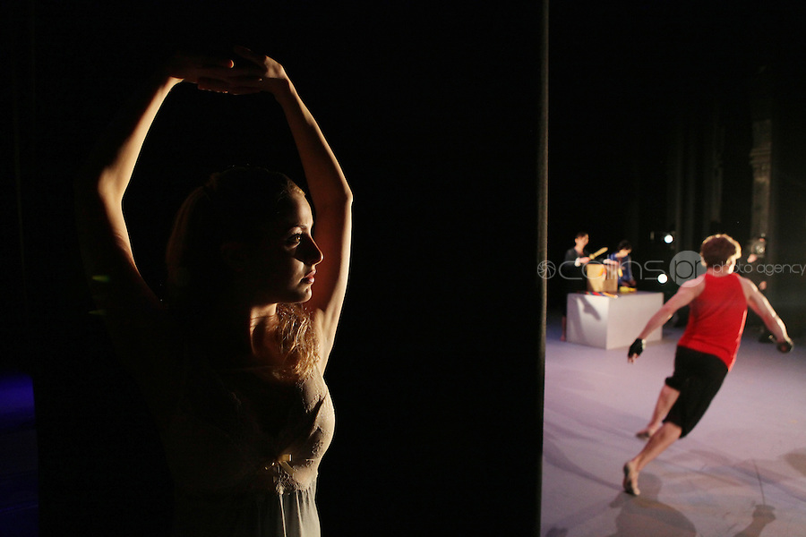18/10/2010. Romeo and Juilet. Pictured backstage during rehersals at the Gaiety Theatre, Dublin is Zoe Ashe Browne (plays Juilet) watching fellow dancers onstage. choreographed by Morgann Runacre-Temple. The production will have its world premiere at the Gaiety Theatre on Tuesday October 19th.  The company of 16 will include Irish and International dancers and will tour to 31 venues in both Ireland and England over the coming months. Picture James Horan/Collins Photos