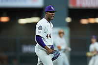 LSU Tigers relief pitcher Jaden Hill (44) reacts after getting an out during the game against the Texas Longhorns in game three of the 2020 Shriners Hospitals for Children College Classic at Minute Maid Park on February 28, 2020 in Houston, Texas. The Tigers defeated the Longhorns 4-3. (Brian Westerholt/Four Seam Images)