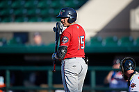Fort Myers Miracle David Banuelos (15) bats during a Florida State League game against the Lakeland Flying Tigers on August 3, 2019 at Publix Field at Joker Marchant Stadium in Lakeland, Florida.  Lakeland defeated Fort Myers 4-3.  (Mike Janes/Four Seam Images)