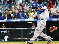 25 April 2009: Dodgers outfielder Manny Ramirez swings during a game between the Los Angeles Dodgers and the Colorado Rockies at Coors Field in Denver, Colorado. *****For Editorial Use Only*****