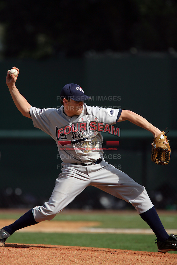 March 20, 2010: Spencer Roberts (32) of Oral Roberts pitches against UCLA at UCLA in Los Angeles,CA.  Photo by Larry Goren/Four Seam Images