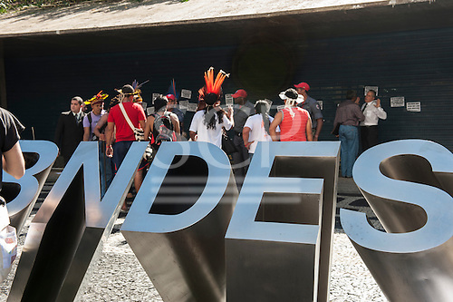 Representatives of indigenous people gain a hearing at BNDES, the Brazilian National Development Bank, after a march from the People's Summit at the United Nations Conference on Sustainable Development (Rio+20), Rio de Janeiro, Brazil, 18th June 2012. Photo © Sue Cunningham.