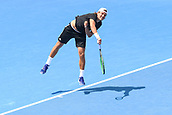 11th January 2018,  Kooyong Lawn Tennis Club, Kooyong, Melbourne, Australia; Priceline Pharmacy Kooyong Classic tennis tournament; Lucas Pouille of France serves to Andrey Rublev of Russia