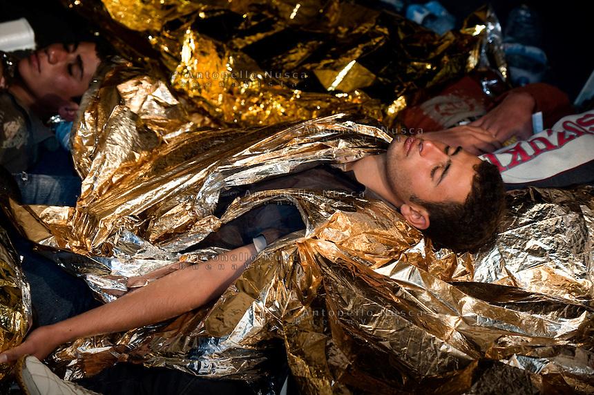 Lampedusa,2011. Immigrati soccorsi dalla Capitaneria di Porto di Lampedusa