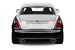 Straight rear view of a 2016 Rollsroyce ghostsd1ra Base 4 Door Sedan stock images