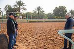 RIYADH,SAUDI ARABIA-FEB 27: Bob Baffert (right), Scott Blasi (assistant trainer to Steve Asmussen (Midnight Bisou)) and his assistant trainer,Jimmy Barnes (Mucho Gusto and McKinzie) at King Abdulaziz Racetrack on February 28,2020 in Riyadh,Saudi Arabia. Kaz Ishida/Eclipse Sportswire/CSM