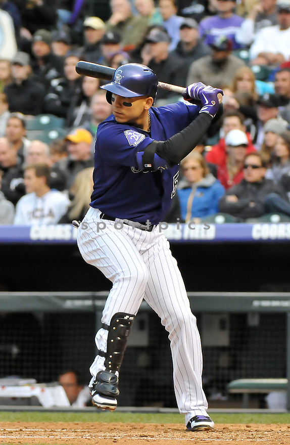 Colorado Rockies Carlos Gonzalez (5) during a game against the Tampa Bay Rays on May 4, 2013 at Coors Field in Denver, CO. The Rockies beat the Rays 9-3.