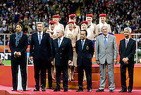 Steffi Jones, Sepp Blatter, Sunil Gulati, officials, medal presentation.  Japan won the FIFA Women's World Cup on penalty kicks after tying the United States, 2-2, in extra time at FIFA Women's World Cup Stadium in Frankfurt Germany.