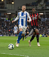 Brighton & Hove Albion's Glenn Murray (left) under pressure from Huddersfield Town's Terence Kongolo (right) <br /> <br /> Photographer David Horton/CameraSport<br /> <br /> The Premier League - Brighton and Hove Albion v Huddersfield Town - Saturday 2nd March 2019 - The Amex Stadium - Brighton<br /> <br /> World Copyright © 2019 CameraSport. All rights reserved. 43 Linden Ave. Countesthorpe. Leicester. England. LE8 5PG - Tel: +44 (0) 116 277 4147 - admin@camerasport.com - www.camerasport.com
