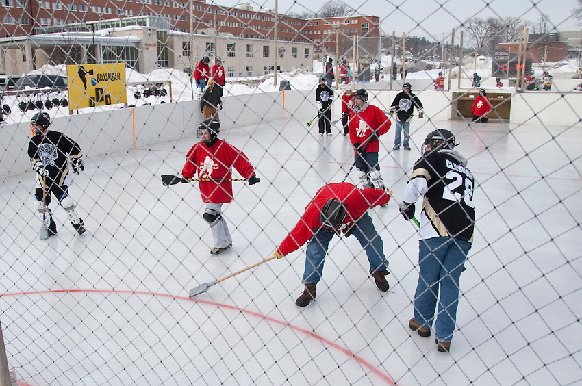 A broomball competition Michigan Technological University in Houghton Michigan during the school's Winter Carnival.