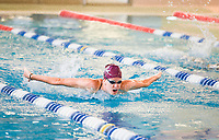 Erin Edminister of Bentonville swims laps, Monday, May 18, 2020 at the Bentonville Community Center in Bentonville. Community Center staff opened the pool for members 16 and older and for lap swimming only Monday. Members interested in swimming were required to register for an appointment in advance. Check out nwaonline.com/200519Daily/ for today's photo gallery.<br />