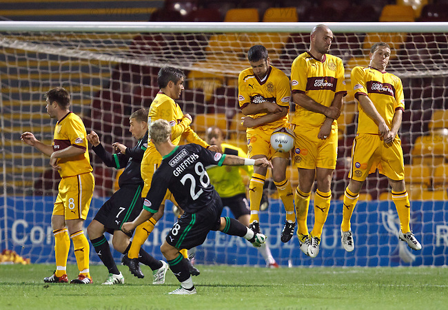 Leigh Griffiths hammers his free-kick into the Motherwell wall