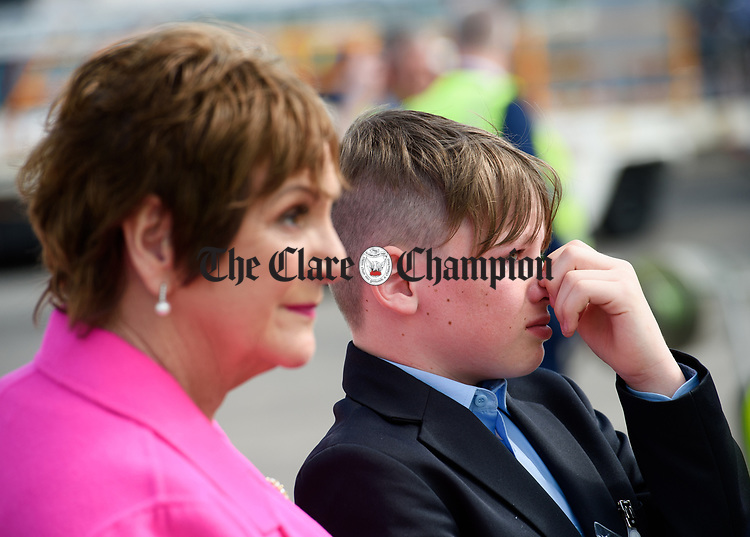 An emotional Callum Burke, nephew of John Burke, is comforted by his grandmother Claire Burke as they wait for his uncle's arrival back to Shannon Airport, following his successful attempt, being the first Clare person ever to climb Mount Everest. Photograph by John Kelly.