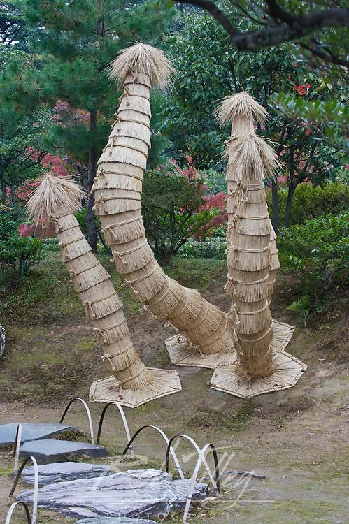 Japan, Kyoto, Katsura Imperial Villa Garden, Pine Trees Dressed for Winter
