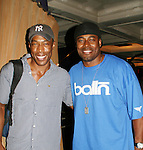"""Lamman Rucker (ATWT """"Marshall Travers"""" & AMC's """"Garret Williams"""") (R) poses with Rent's """"Tom Collins"""" Michael McElroy (AMC & Y & R) on August 22, 2008 at the Nederlander Theatre, NYC. (Photo by Sue Coflin/Max Photos)"""