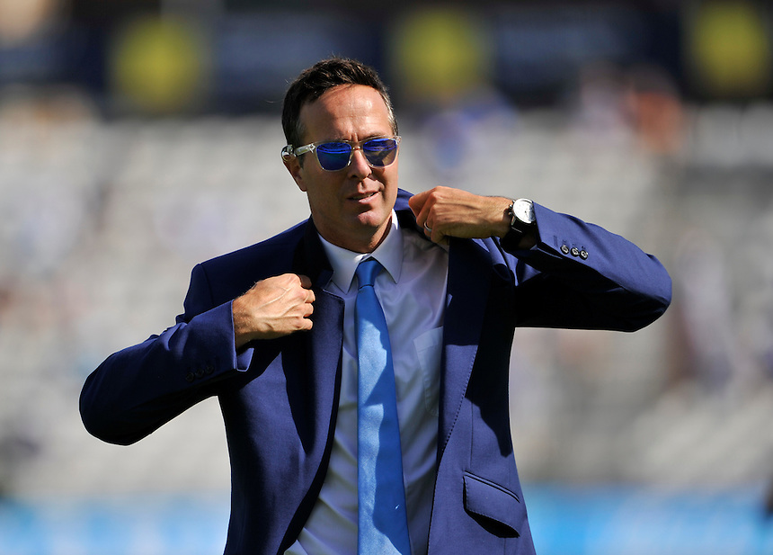 Ex England captain and match summariser Michael Vaughan dressed in blue today for charity<br /> <br /> Photographer Ashley Western/CameraSport<br /> <br /> International Cricket - Investec Ashes Test Series 2015 - Fifth Test - England v Australia - Day 3 - Saturday 22nd August 2015 - Kennington Oval - London<br /> <br /> &copy; CameraSport - 43 Linden Ave. Countesthorpe. Leicester. England. LE8 5PG - Tel: +44 (0) 116 277 4147 - admin@camerasport.com - www.camerasport.com