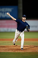 Mobile BayBears relief pitcher Eric Karch (46) delivers a pitch during a game against the Pensacola Blue Wahoos on April 25, 2017 at Hank Aaron Stadium in Mobile, Alabama.  Mobile defeated Pensacola 3-0.  (Mike Janes/Four Seam Images)