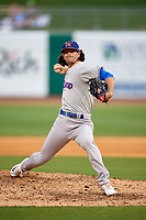 Midland RockHounds relief pitcher Kyle Finnegan (26) delivers a pitch during a game against the Northwest Arkansas Naturals on May 27, 2017 at Arvest Ballpark in Springdale, Arkansas.  NW Arkansas defeated Midland 3-2.  (Mike Janes/Four Seam Images)