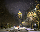 February 6, 2020; Notre Dame Avenue during a night snowfall (Photo by Matt Cashore/University of Notre Dame)