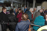 Residents at the Civic Centre in Ebbw Vale in protest of the Borough of Blaenau Gwent's new Trolibocs recycling system. Small groups of residents are allowed into the Civic Centre to meet with councillors. <br /> <br /> <br /> Jeff Thomas Photography -  www.jaypics.photoshelter.com - <br /> e-mail swansea1001@hotmail.co.uk -<br /> Mob: 07837 386244 -