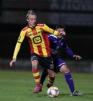 20191125 - WOLVERTEM: Mechelen's Gaeten Bosiers is in action and Anderlecht's Nayel Mehssatou is pressing from behind during the Belgian Elite U21 league football match between RSC Anderlecht U21 and KV Mechelen U21 on Monday 25th of November 2019 at F. Lathouwersstadion, Wolvertem Belgium. PHOTO: SEVIL OKTEM | SPORTPIX.BE