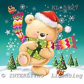 Interlitho, Simonetta, CHRISTMAS ANIMALS, paintings, bear, shawl, trees, KL5927,#xa# Weihnachten, Navidad, illustrations, pinturas ,Simonetta,itdp