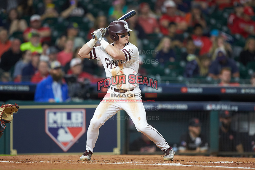 Justin Foscue (17) of the Mississippi State Bulldogs at bat against the Houston Cougars in game six of the 2018 Shriners Hospitals for Children College Classic at Minute Maid Park on March 3, 2018 in Houston, Texas. The Bulldogs defeated the Cougars 3-2 in 12 innings. (Brian Westerholt/Four Seam Images)