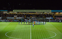 The teams line up before the The Checkatrade Trophy match between Wycombe Wanderers and West Ham United U21 at Adams Park, High Wycombe, England on 4 October 2016. Photo by Andy Rowland.