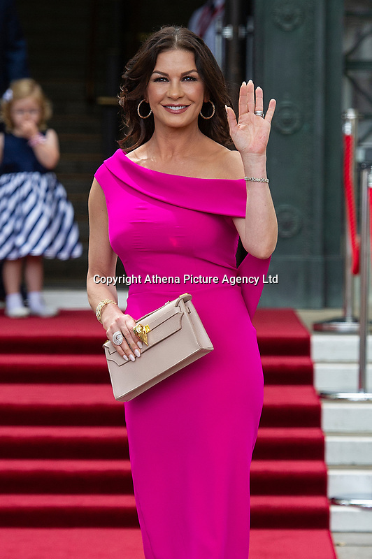Catherine Zeta-Jones arrives at the Guildhall in Swansea, Wales, UK. Wednesday 24 July 2019<br /> Re: Catherine Zeta-Jones receives the honorary freedom of the City and County of Swansea during a ceremony at the Guildhall in Swansea, Wales, UK.
