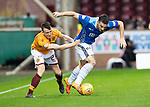 Motherwell v St Johnstone&hellip;20.10.18&hellip;   Fir Park    SPFL<br />Tony Watt gets his shirt pulled by David Turnbull<br />Picture by Graeme Hart. <br />Copyright Perthshire Picture Agency<br />Tel: 01738 623350  Mobile: 07990 594431