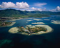 Coconut Island, Aerial View, Kaneohe Bay, Oahu, Hawaii, USA.