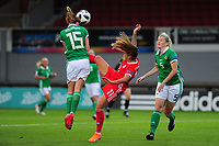 Freya Holdaway of Northern Ireland battles with Natasha Harding of Wales during the UEFA Womens Euro Qualifier match between Wales and Northern Ireland at Rodney Parade in Newport, Wales, UK. Tuesday 03, September 2019