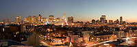 Zakim bridge panorama night view from Charlestown, Boston, MA.December 2004