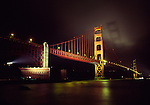 Golden Gate Bridge and Fort Point in evening