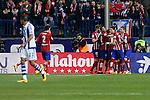 Atletico de Madrid´s players celebrate a goal during 2015-16 La Liga match between Atletico de Madrid and Real Sociedad at Vicente Calderon stadium in Madrid, Spain. March 01, 2016. (ALTERPHOTOS/Victor Blanco)