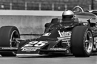 INDIANAPOLIS, IN - MAY 29: Danny Ongais drives his Parnelli VPJ6B/Cosworth TC through the pit lane during practice for the Indianapolis 500 at the Indianapolis Motor Speedway in Indianapolis, Indiana, on May 29, 1977.